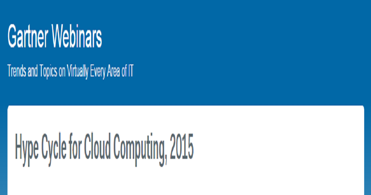 Hype Cycle for Cloud Computing, 2015