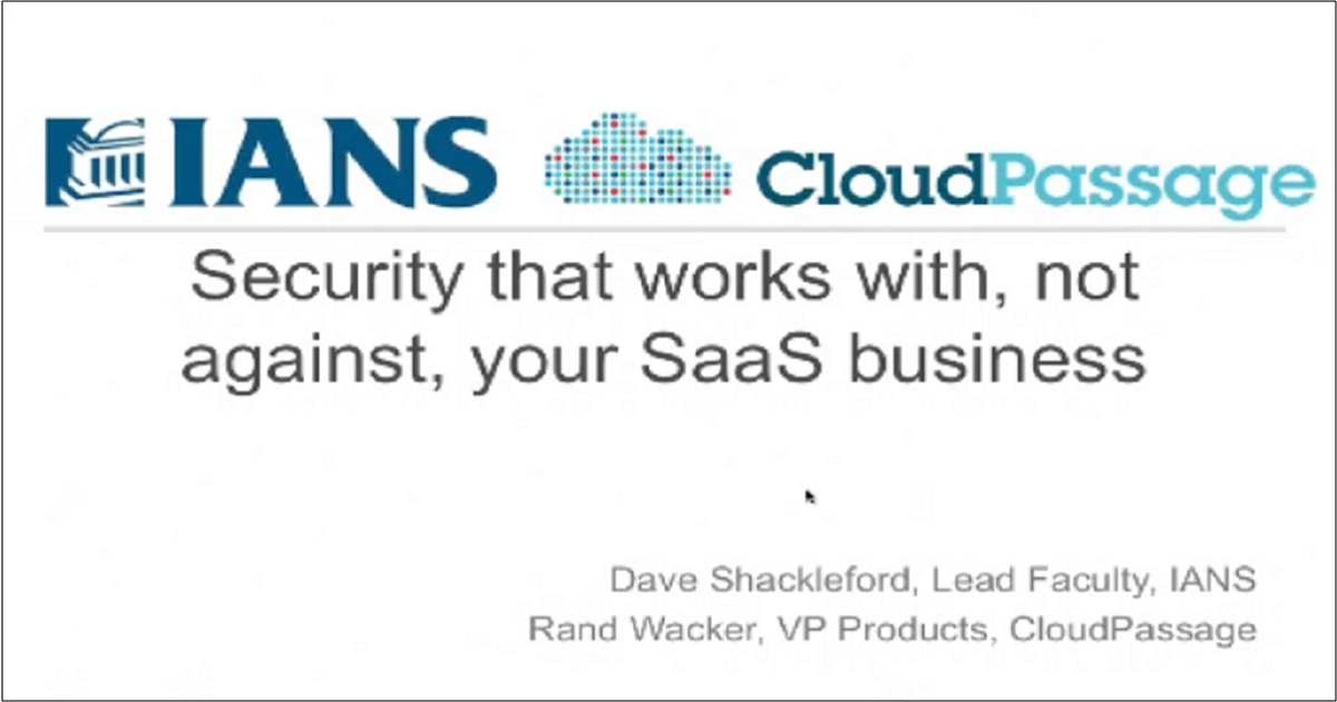 HOW TO BUILD SECURITY INTO YOUR SAAS INFRASTRUCTURE