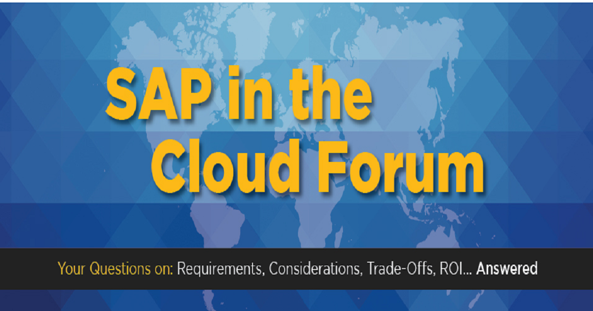 SAP in the Cloud Forum