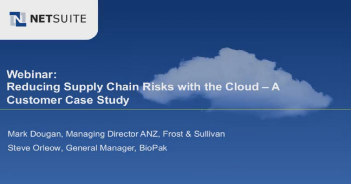 Reducing Supply Chain Risks with the Cloud—A Case Study
