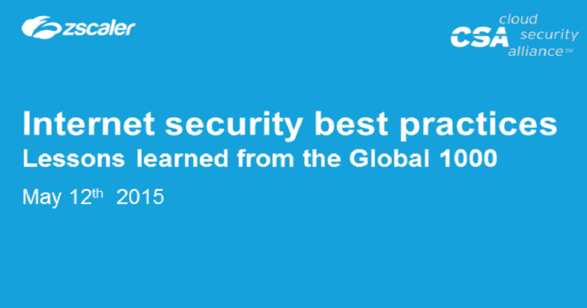 Preparing for 2015: Internet security best practices from the Global 1000
