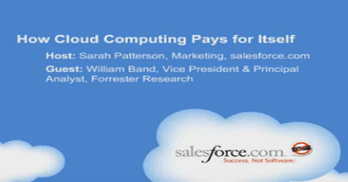How Cloud Computing Pays for Itself