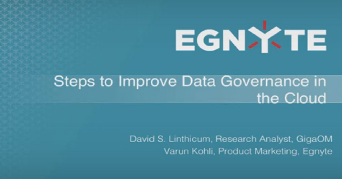 Analyst Webinar — Steps to Improve Data Governance in the Cloud