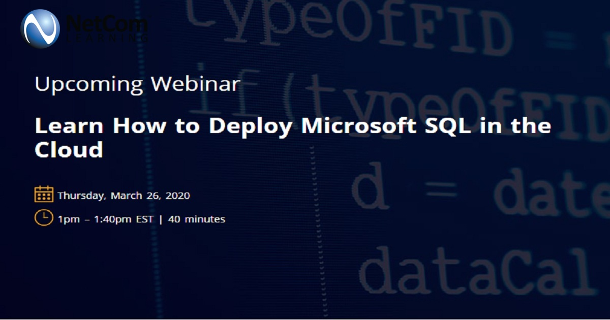 Learn How to Deploy Microsoft SQL in the Cloud