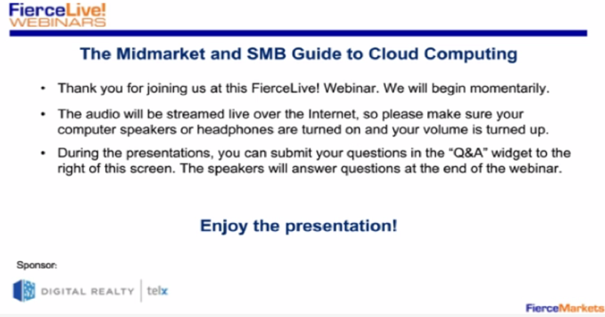 Webinar: The Midmarket and SMB Guide to Cloud Computing