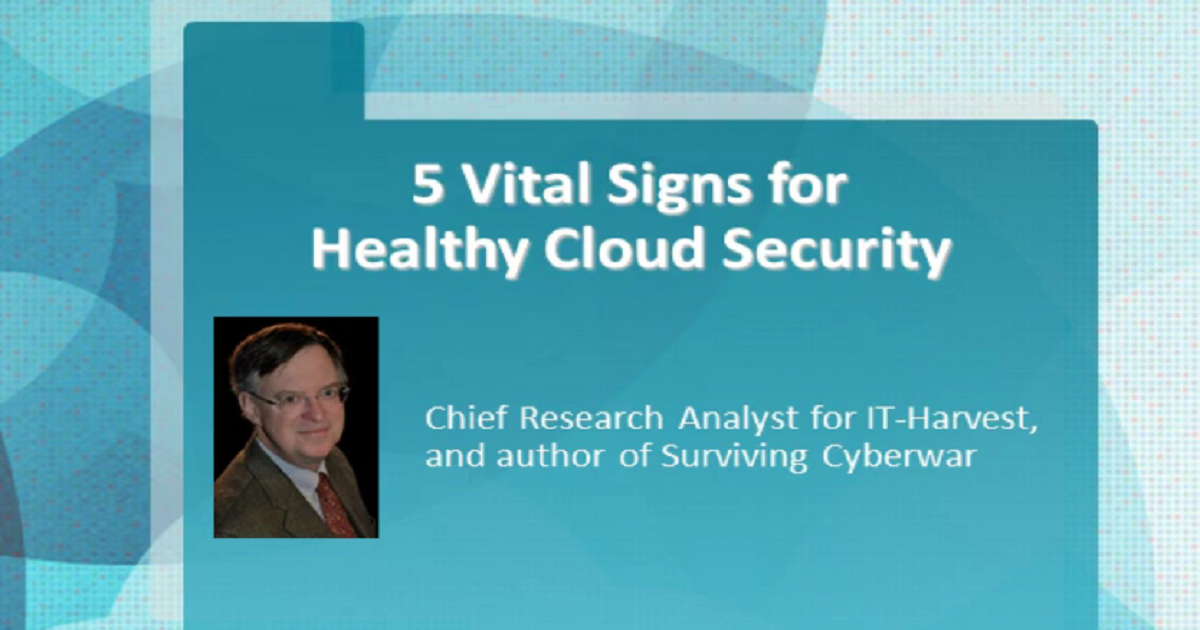 5 VITAL SIGNS FOR HEALTHY CLOUD SECURITY