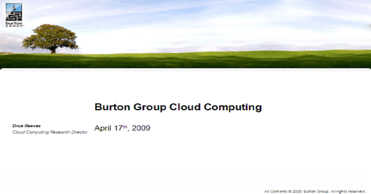 Burton Group Cloud Computing Coverage Launch