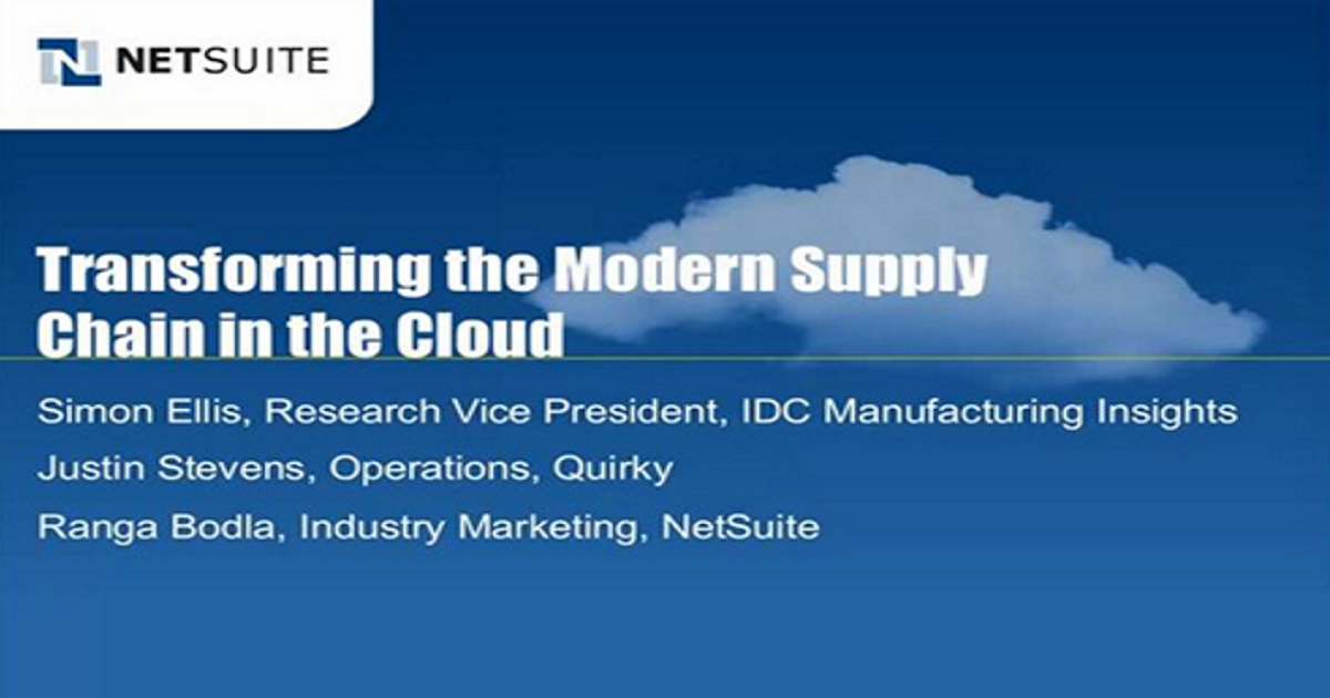 Transforming the Supply Chain with Cloud ERP