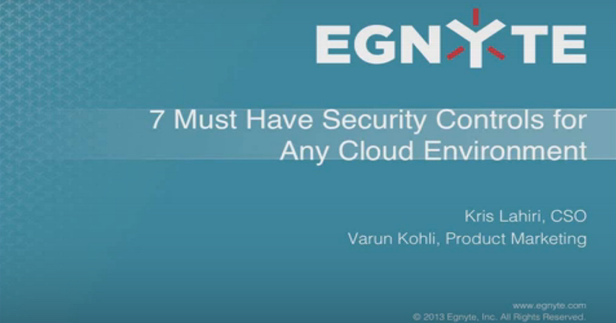 7 Security Controls for a Cloud Environment