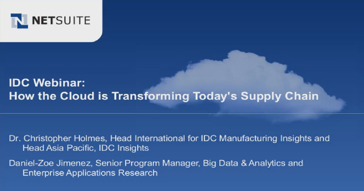 IDC Webinar: How the Cloud is Transforming Today