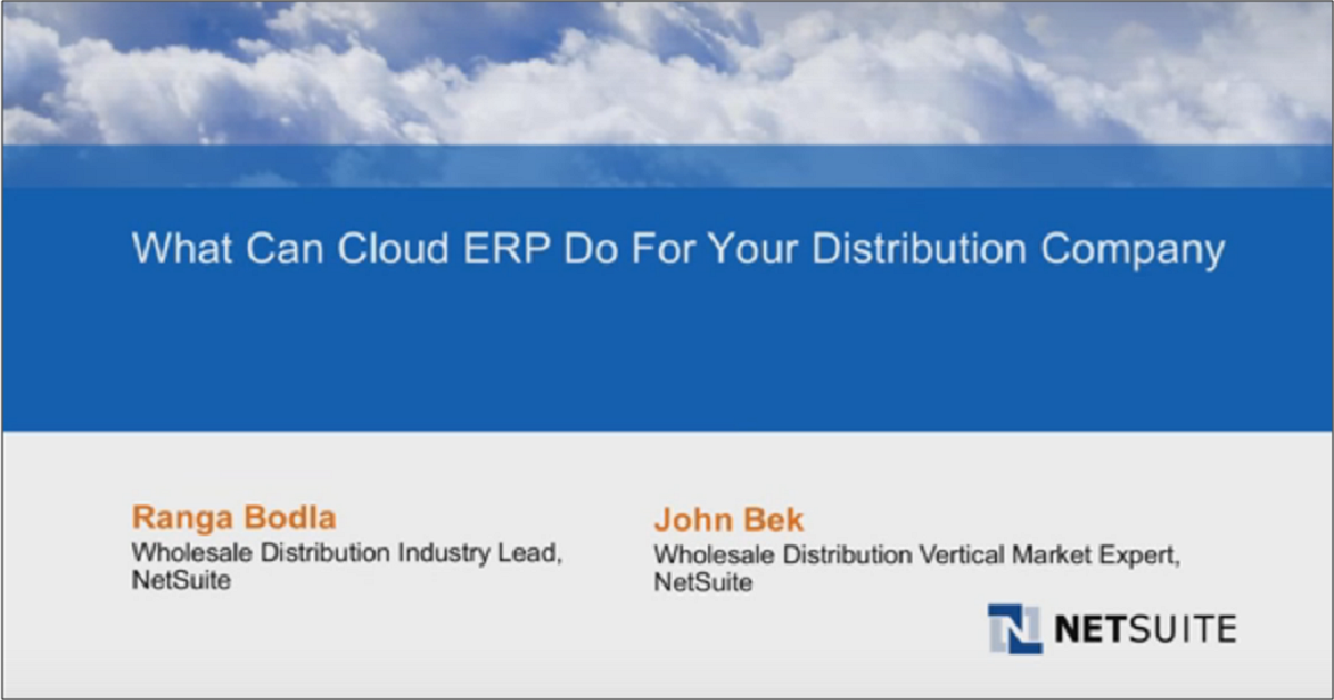 See What Cloud ERP Can Do For Your Distribution Company
