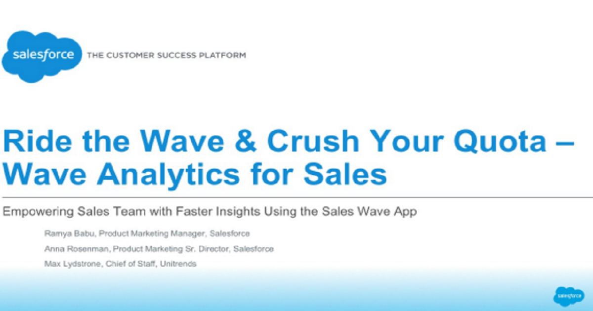 Ride the Wave and Crush Your Quota: Analytics Cloud for Sales