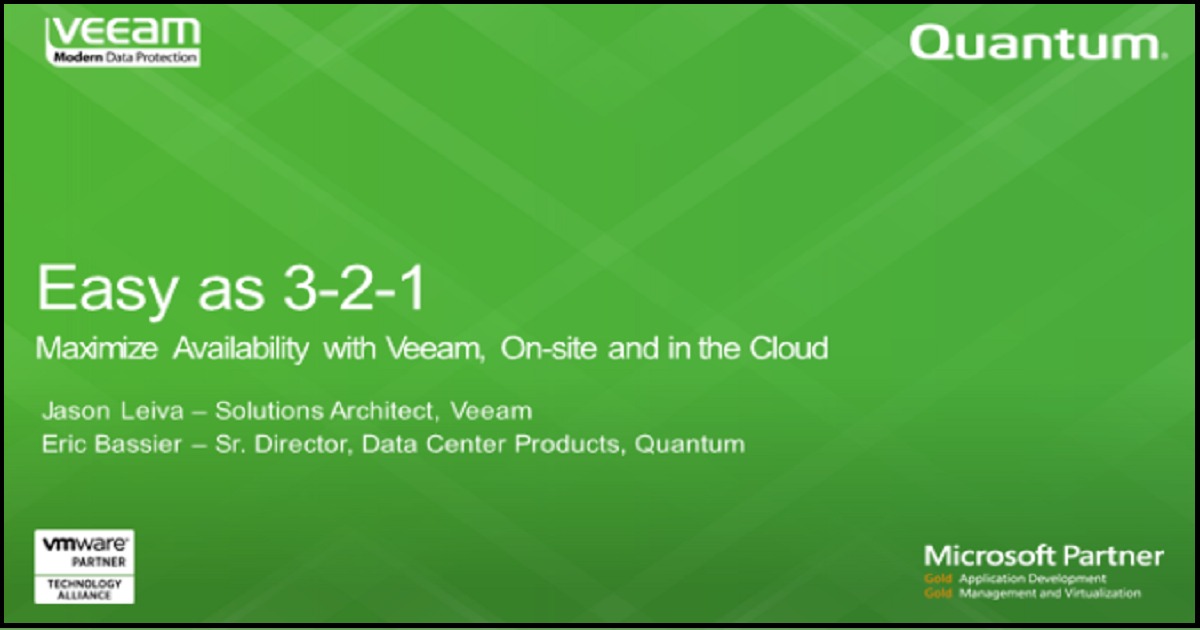 Easy as 3-2-1. Maximize Availability with Veeam, On-site and in the Cloud