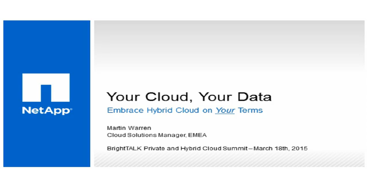 Your Cloud, Your Data