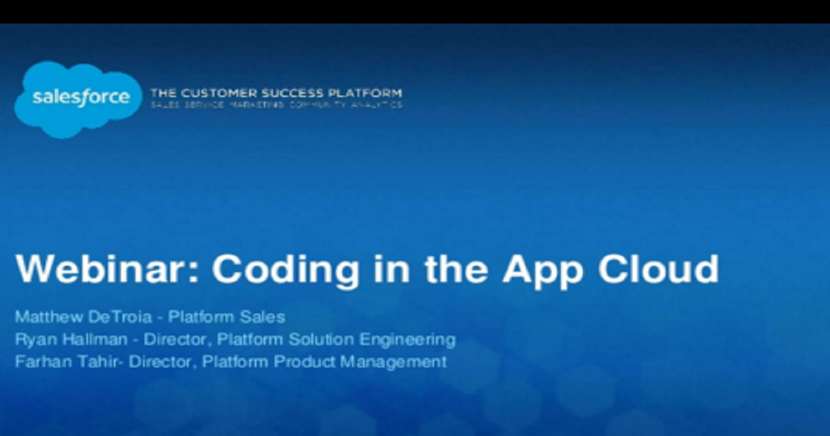 Coding in the App Cloud